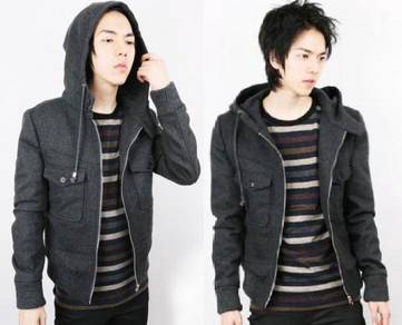 0342 Dark Grey Hoodie Swagger Thick Sweater Jacket