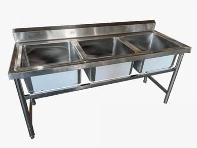 S/Steel 3 bowl sink triple