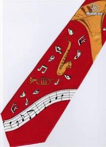 Saxophone Trumpet Music Notes Instrument Neck Tie