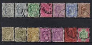 India kevii 1902-11 defins 14 used cat 12+ bl219