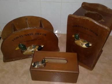 Vintage wooden fortunate decoy set kayu