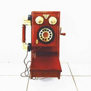 Vintage wooden wall hang telephone