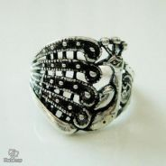 ABRSM-P002 Peacock Style Silver Metal Ring Size 9
