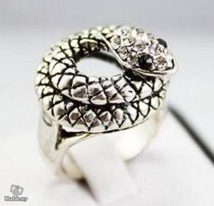 ABRSM-S006 Natural Unique Vivid snake Ring Sz 9-11