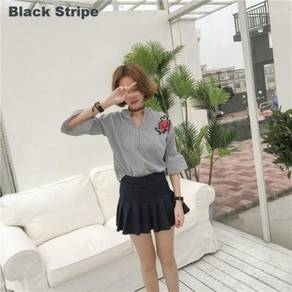 Women's V-Neck Flare 3/4 Sleeve Stripe Shirt
