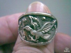 ABRSM-E002 Flying Eagle Silver Metal Ring - Size 9