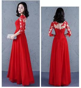 Red blue long sleeve wedding prom dress RB0543