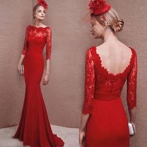 Red long sleeve wedding bridal prom dress RB0542