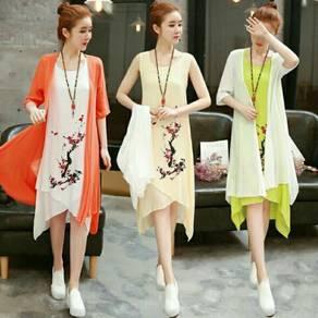 Cotton linen dress + cardigen
