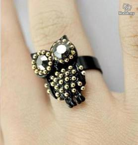 ABRGM-O002 Lovely Shining Owl Gold Metal Ring FS