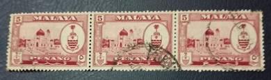Setem Penang 5 Cents 1957 (Block of 3 - Set M204)