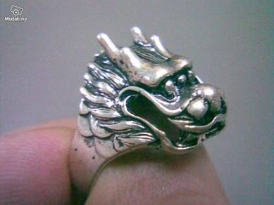 ABRSM-D001 Dragon Face Head Silver Metal Ring Sz11