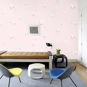 Beautiful butterfly on pink wallpaper with proview