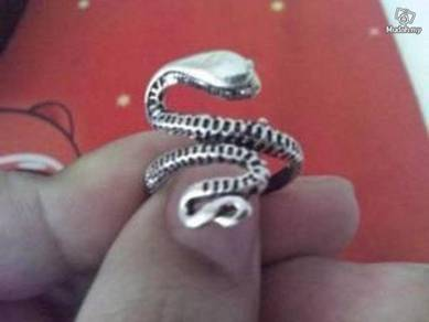 ABRSM-S003 Snake Full Body Silver Metal Ring Sz 11