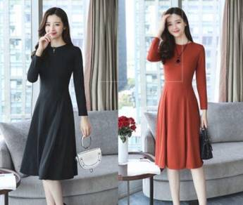 5602 Korean Temperament was Thin Long-Sleeved Dres