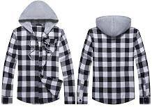 0599 Stylish Black Hooded Mens Long Sleeved Shirt