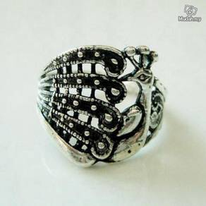 ABRSM-P002 Peacock Style Silver Metal Ring size 10