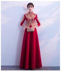 Muslimah red cheongsam long sleeve wedding dress