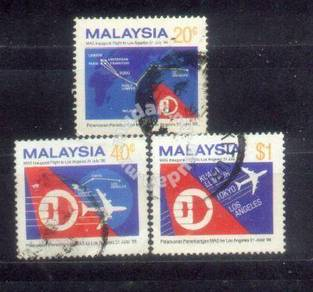 Use-d Stamp Flight to Los Angeles Malaysia 1986