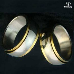 ABRSS-D008 Decent Silver Gold 2 Layer Spin Ring S7