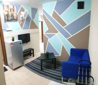 Bilik Sewa Muslim Apartment FLORA Blok F lengkap perabut ada WIFI