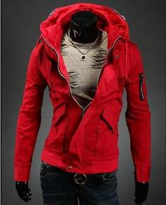 93197 Red Dual Collar Military Coat Sweater Jacket