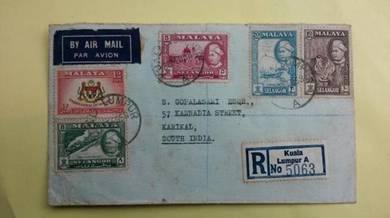 Antik Cover MULTI stamps KL India 1958 No 412