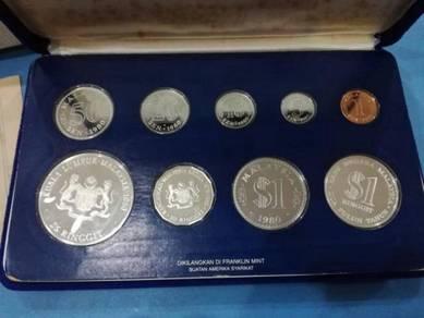 Malaysia 1980 proof coin set of 9 lama