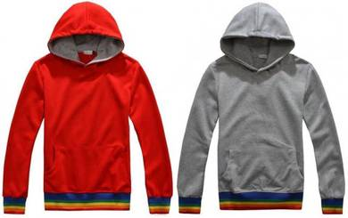 1502 Retro Red Hooded Sweatshirt Pullover Sweater