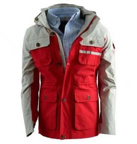 99307 Stylish Red Multi-Pocket Hoodie Coat Jacket