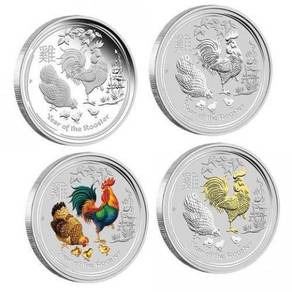 Lunar SII 2017 Rooster 1oz Silver Typeset