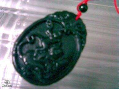 ABPJ-M006 Carved Chinese Black Jade Monkey Pendant