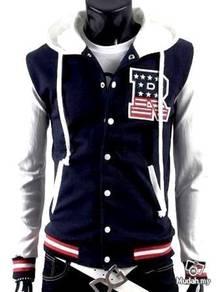 Blue Hoody Baseball Sweater Hooded Bomber Jacket