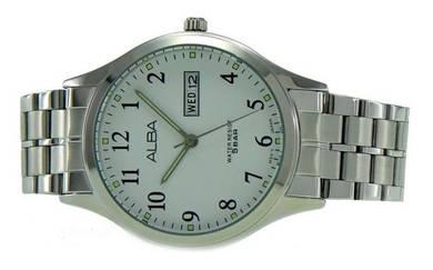 Alba Men Date Stainless Steel Watch VX43-X094WSBS