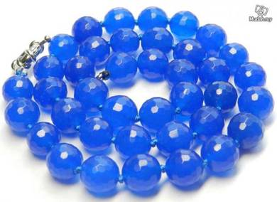 ABNJ-B003 8mm Faceted Natural Blue Jade Necklace