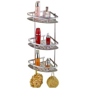 Aluminum 3 Tier Bathroom Storage Wall Rack