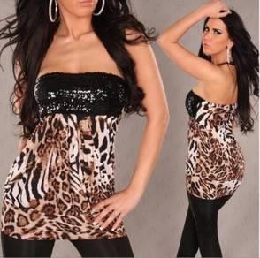 CW141 Sexy Leopard Sequin Pleated Tube Mini Dress