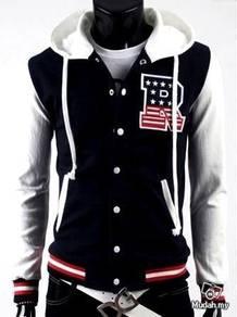 Black Hoody Baseball Sweater Hooded Bomber Jacket