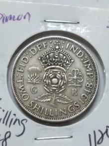 Vintage UK King George VI 2 Shilling 1948