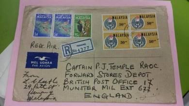 Antik Cover Penang ENGLAND 1969 No 419 RARE