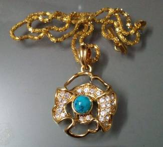 ABPGF-F001 Gold Flower Turquoise Crystal Necklace