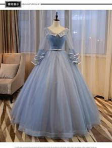 Blue long sleeve puffy wedding bridal prom dress