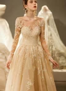 Cream long sleeve Wedding Dress Gown RB0768