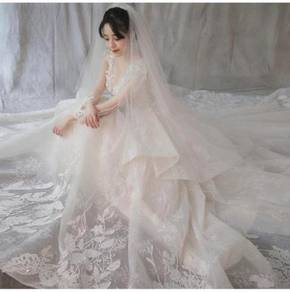 White long sleeve Wedding Dress Gown RB0765