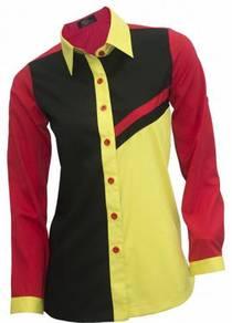 Baju Kemeja Korporat Wanita FC997 Black Red Yellow