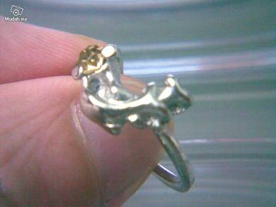 ABRSM-D030 Silver Metal Cute Lovely Dolphin Ring