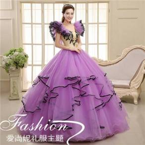 Purple cream puffy wedding bridal prom dress