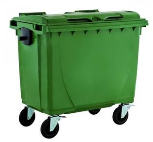 660l waste bin cw cover 4 wheel - green