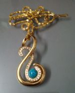 ABPGF-M001 Gold Music Note Turquoise Crys Necklace
