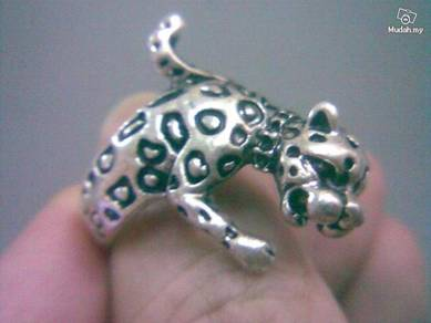ABRSM-L008 Leopard Full Body Silver Metal Ring Sz9